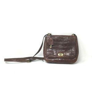 Handbags - Vintage Fossil Brown Leather Lock Cross Body Bag